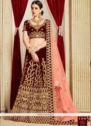 Bridal Pure Velvet Designer Heavy Lehenga Choli In Maroon Color