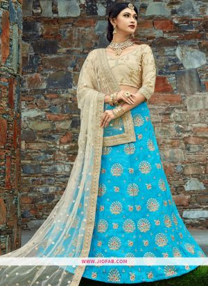 Bridal Sky Blue Embroidered Art Silk Festival Lehenga Choli