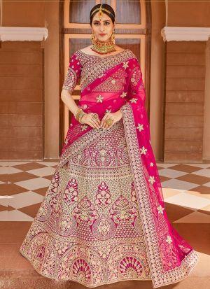 Bridal Special Pink Velvet Lehenga Choli