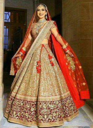 Bridal Wear Golden Velvet Lehenga Choli