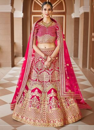 Bridal Wear Pink Velvet Lehenga Choli