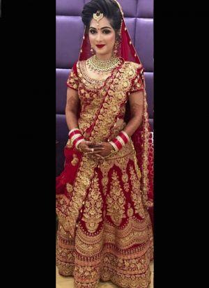 Bridal Wear Red Heavy Velvet Lehenga