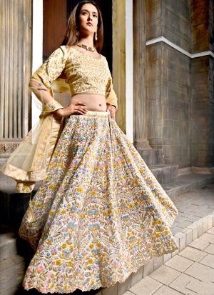 Bride Cream Bright Banarasi Peafowl Vol 28 Designer Lehenga Choli