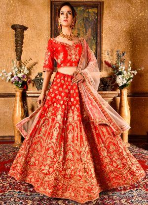 Bride Red Velvet Silk Indian Wedding Lehenga Choli With Soft Net Dupatta