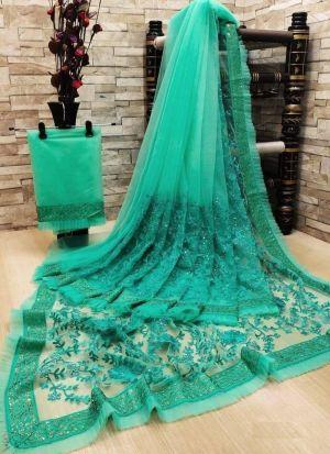 Bright Rama Soft Net Embroidery Saree