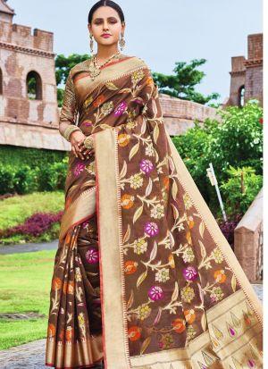 Brown Pure Silk Wedding Saree Collection