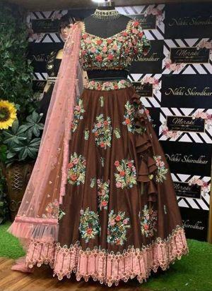 Brown Taffeta Silk Embroidery Lehenga Choli