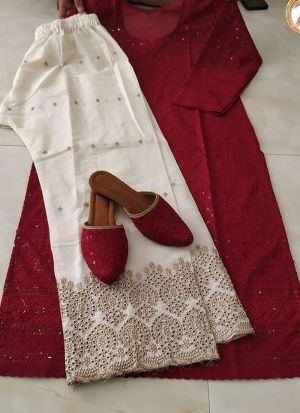 Burgundy Fancy Thread Work Top With Palazzo
