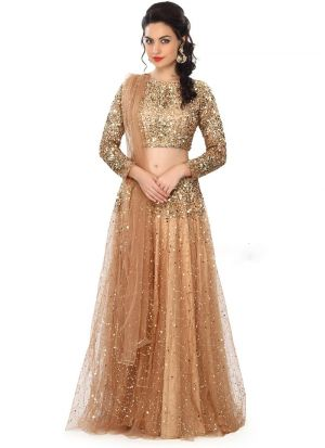 Buy Traditional Wear Salmon Color Thread Work Lehenga Choli