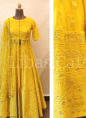 Cape Top Style Yellow Tafetta Silk Sequence Work Lehenga Choli