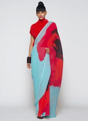 Captivating Multi Color Printed Saree