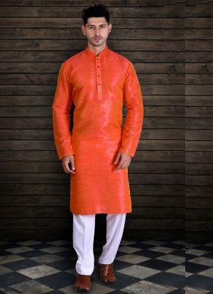 Captivating Orange Silk Kurta Pajama