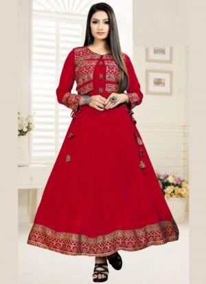 Captivating Red Printed Rayon Kurti