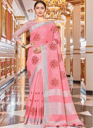 Casual Wear Light Pink Weaving Saree