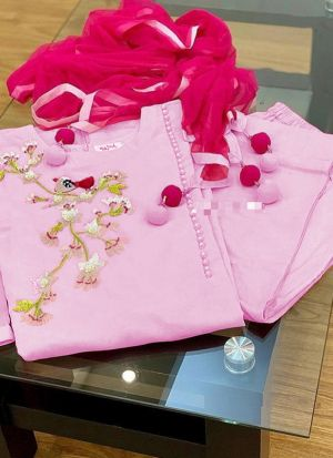 Casual Wear Pink Embroidered Salwar Suit