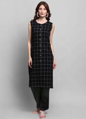 Causal Wear Black Colour Sleeveless Kurti