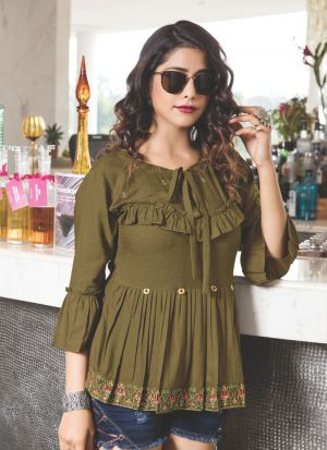 Causal Wear Dark Olive Green Rayon Cotton Embroidered Top
