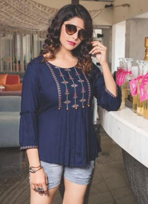 Causal Wear Navy Rayon Cotton Embroidered Top