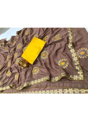 Chiffon Brown Designer Traditional Saree