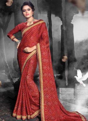 Chiffon Maroon Indian Wedding Saree Collection