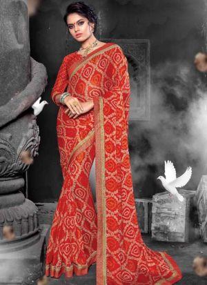 Chiffon Red Latest Wedding Saree Collections