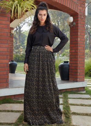 Classic Black Imported Skirt With Crop Top