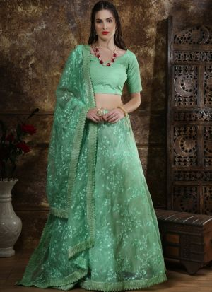 Classic Partywear Organza Mint Green Designer Lehenga Choli