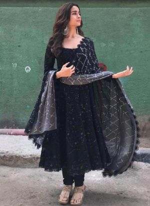 Classy Bollywood Style Black Georgette Embroidered Salwar Suit