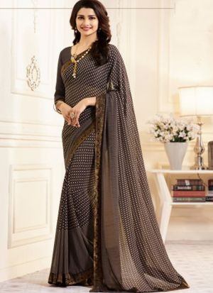 Classy Espresso Brown Georgette Printed Bollywood Style Saree