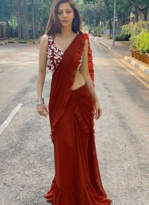 Classy Red Georgette Embroidered Lehenga Choli With Attached Dupatta