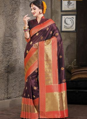 Coffee South Indian Crystal Silk Designer Saree