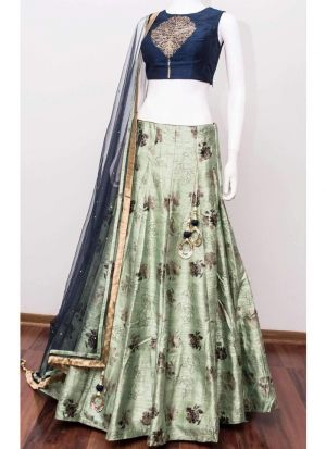 Copper Metallic Foil Designer Lehenga Choli In Green Color