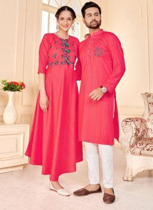 Coral Pink Rayon Lurex Couple Combo Set