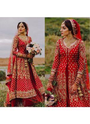 Coral Red Milano Silk Indian Wedding Lehenga Choli With Mono Net Dupatta