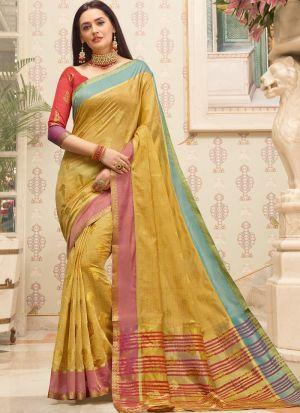 Cotton Handloom Light Yellow Indian Wear Saree