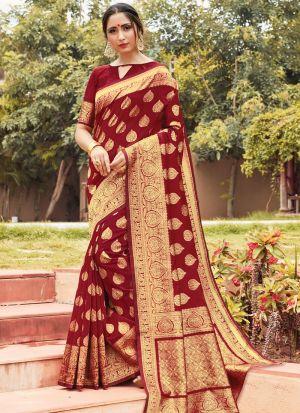 Cotton Handloom Maroon Ceremonial Trendy Saree