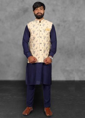 Cotton Kurta Pajama With Jacquard Print Koti