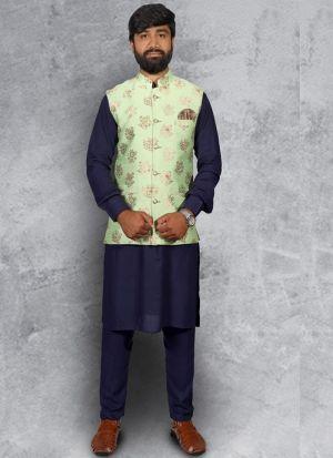 Cotton Kurta Pajama With Koti For Men