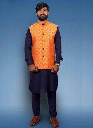 Cotton Kurta Pajama With Orange Koti