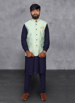 Cotton Kurta Pajama With Pista Green Koti