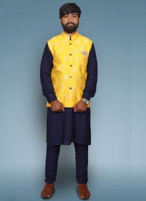 Cotton Kurta Pajama With Yellow Koti