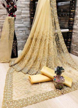 Cream Banglori Silk Moti Work Saree