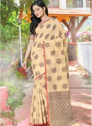 Cream Color South Indian Wedding Cotton Handloom Saree