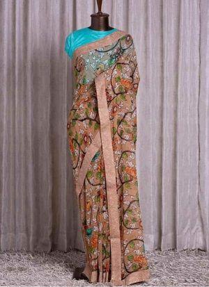 Cream Printed Rajwadi Silk Saree