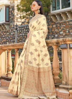 Cream South Indian Wedding Cotton Handloom Saree