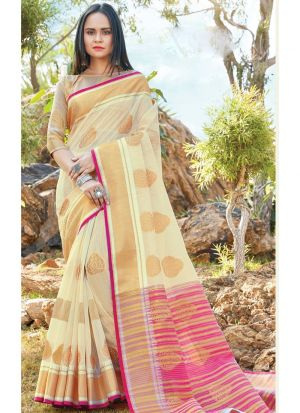 Cream Traditional South Indian Wedding Linen Cotton Saree