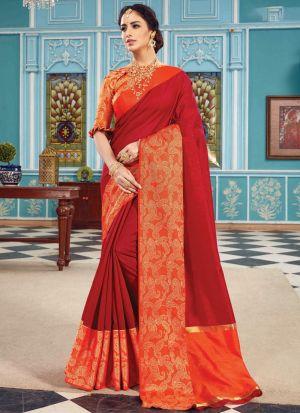 Crystal Silk Maroon Designer Traditional Saree
