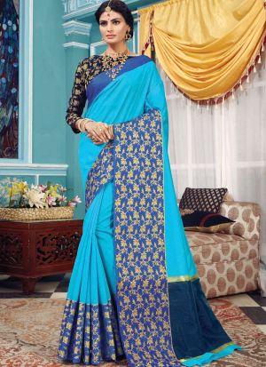 Crystal Silk Sky Blue Designer Traditional Saree
