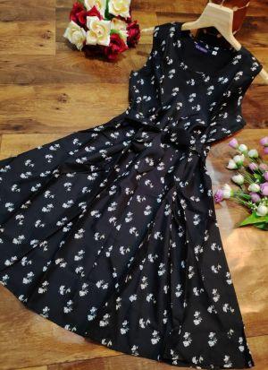 Daily Wear Skater Cotton Black Printed Dress