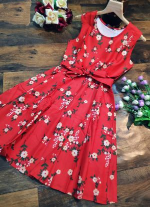 Daily Wear Skater Cotton Red Printed Dress
